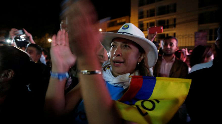 "Supporters of ""No"" vote celebrate after the nation voted ""No"" in a referendum on a peace deal between the government and Revolutionary Armed Forces of Colombia (FARC) rebels,in Bogota, Colombia, October 2, 2016. REUTERS/John Vizcaino"